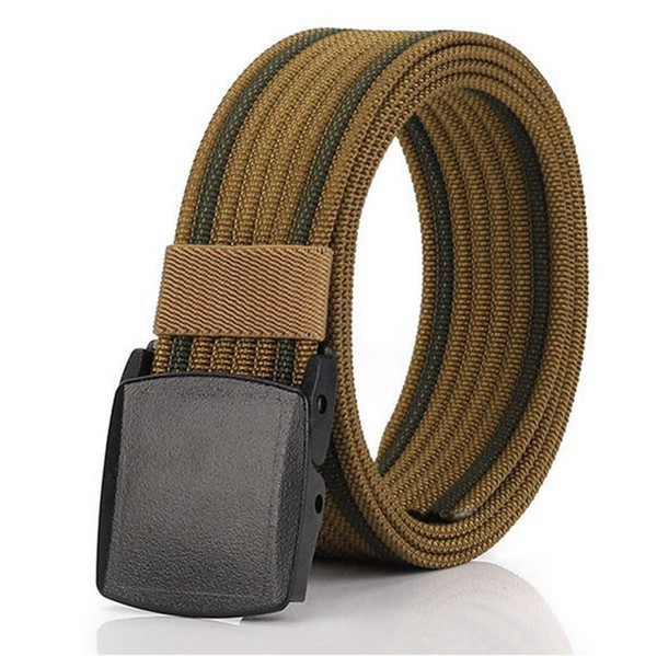 Nylon Tactical Men Waist Belt Breathable Outdoor Webbing Canvas With Plastic Buckle for Sports Hiking Hunting Camping