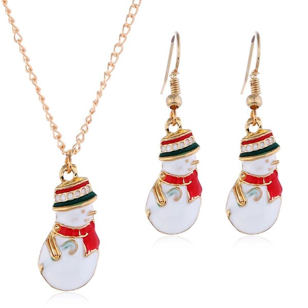 Christmas Hot Sale Christmas Scarf crutch Snowman Earrings Pendant Necklace Fashion Cute Coloful Jewelry Set Woman Holiday Gift with box