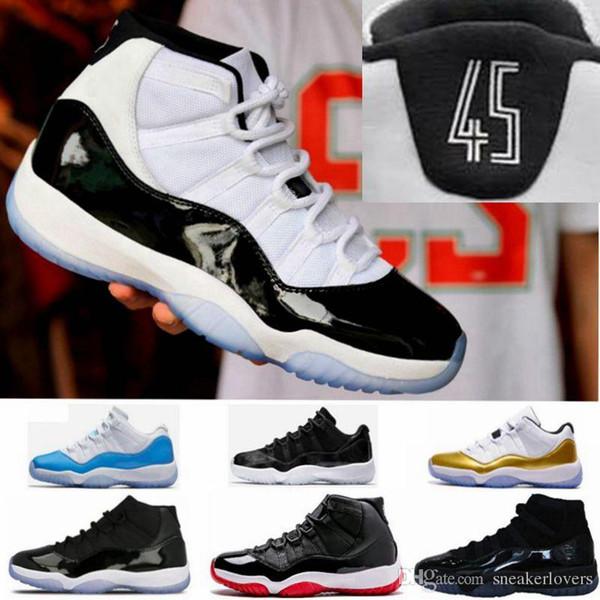 With Box 11 Space Jam Bred + Numéro 45 nouveau Concord Chaussures de basketball Hommes Femmes chaussures 11s rouge Marine Gamma Bleu 72-10 Sneakers