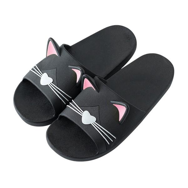Vente chaude-Femmes Accueil Pantoufles Cartoon Cat Sol Famille Chaussures Plage Chaussures Plate-forme Plate-forme pantoufles de bain Flip Flops NOUVEAU 2019