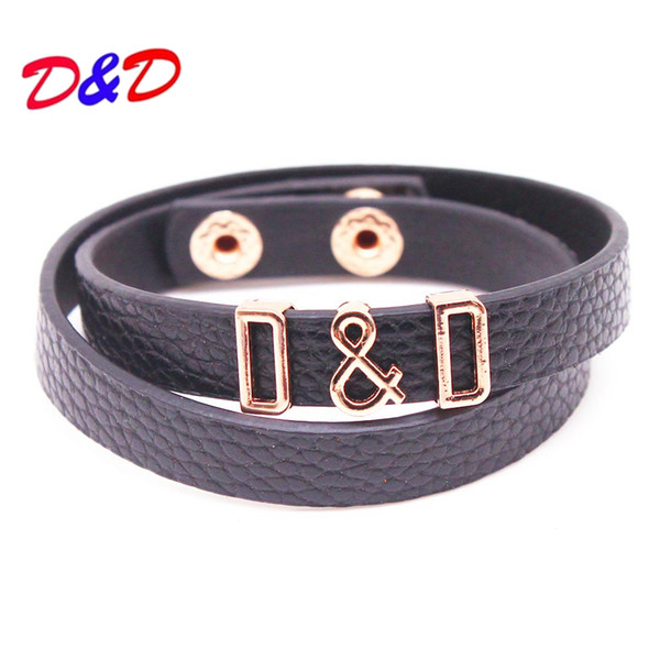 D&D New Multilayer Leather Bracelet Hand Chain Simple Word Alloy D Wide Women Bracelet Bangle New Hand Jewelry