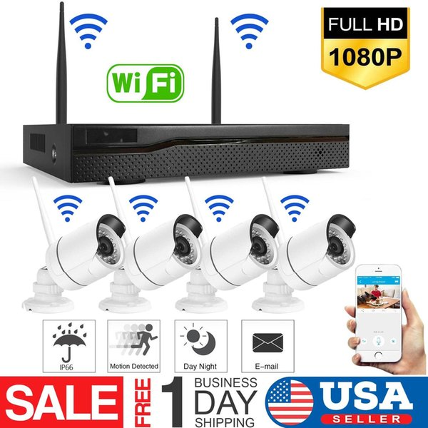Kablosuz 4CH 1080 P NVR Açık kapalı WIFI HD Kamera CCTV Güvenlik Sistemi Seti ABD