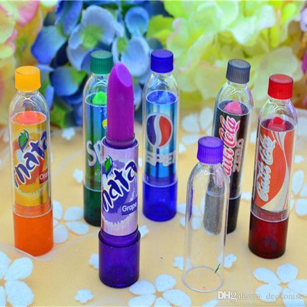 6 unids / lote Cambio de Moda Color Cola Lápiz Labial dulce lindo Crema Hidratante Aroma suave Bálsamo Labial Lápiz Labial Marca Maquillaje Lip Smacker