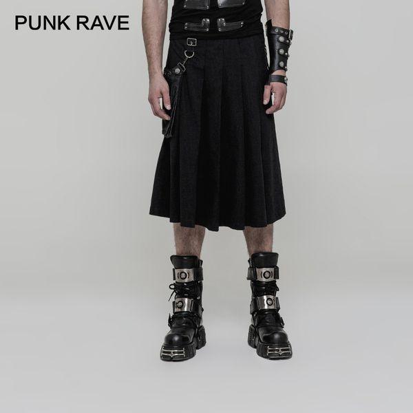 Großhandel Punk Rave Punk Schwarz Gewebe Mode Gothic Taschen Plissee Herren Halbe Rock Hosen Halbe Rock Cosplay Von Vikey10, $125.12 Auf De.Dhgate.Com