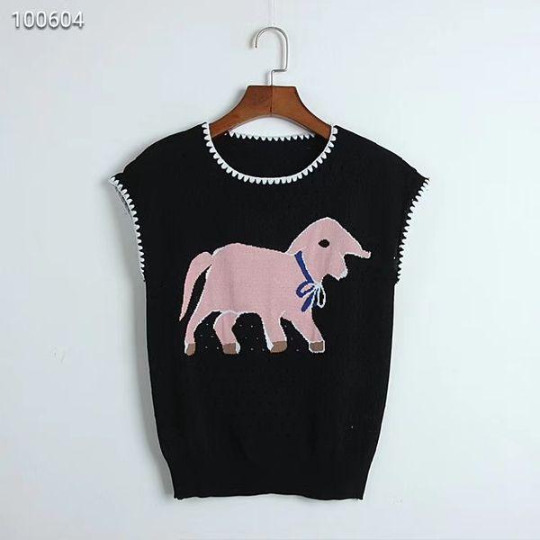 Neu Kommen Original Design Damen Branded Jacquard Hohl Weste Gestrickte Baby Elefant Ärmelloses T-Shirt WeißSchwarz S M L