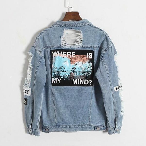 Il trasporto di goccia Dove è la mia mente Corea retrò sfilacciato lettera ricamo giacca bomber cerotto blu Strappato Distressed Denim FemaleMX190930 Coat