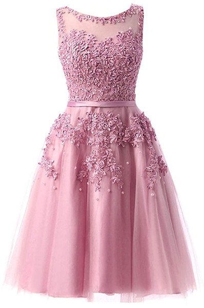 2019 Chiffon A-line Tulle Lace Short Prom Dresses Applique Cocktail Formal Evening Party Dress Bridesmaid Wear Party Gown QC1355