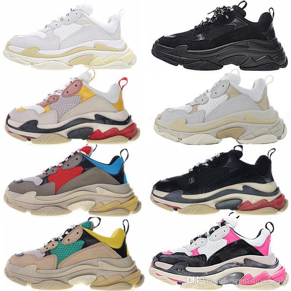 Triple S Sneakers 2019 Fashion Paris 17FW Triple-S Sneaker Beige White Black Pink Triple S Casual Dad Shoes For Men's Women Designer Shoe