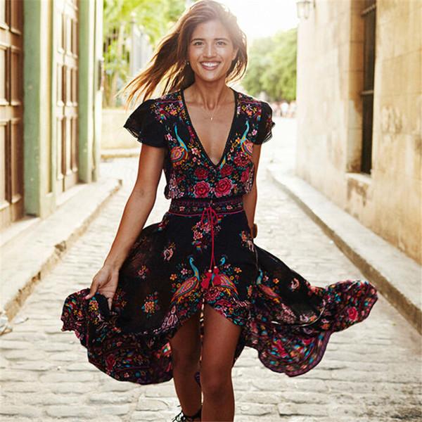 Новая женский летний шифон V-образный вырез платья макси Vintage Boho Длинные Maxi партии вечера пляж платье сарафан Цветочные Печатные Длинные платья