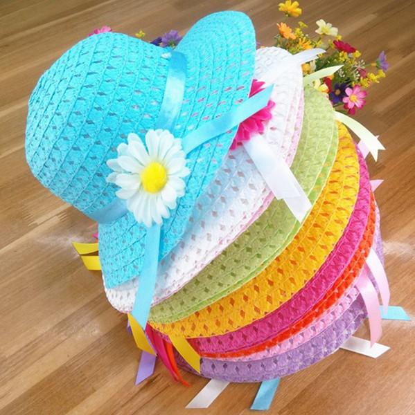 Crianças cap sunhat viseira baby girl floral ribbon chapéu de palha crianças verão praia chapéu baby girls flor chapéus de sol cap top quality B11