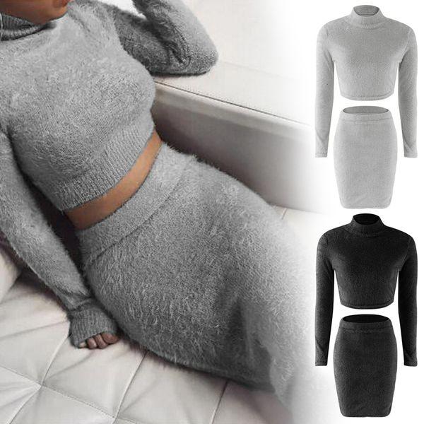 Women Set Autumn 2Pcs Bandage Suit Long Sleeve Fleece Crop Top Pencil Midi Skirt Solid Bodycon Dress Sweater