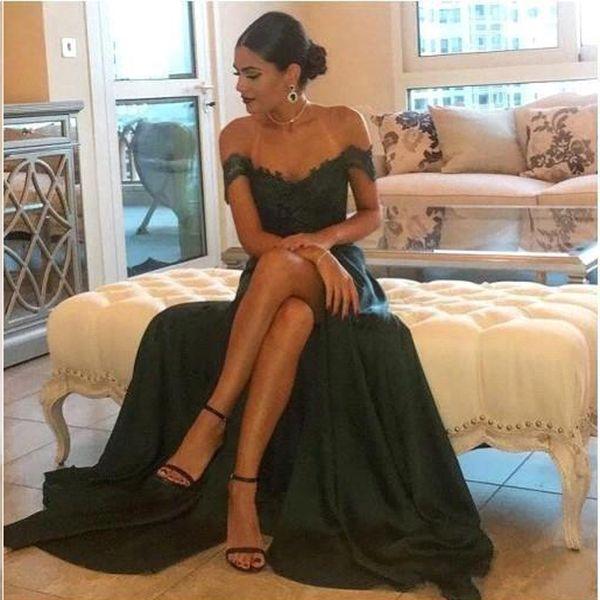New verde escuro Sexy Prom Dresses A Linha Chiffon Off-the-ombro Andar de comprimento High Side Dividir elegante do laço Vestido Longo Formal Dresse