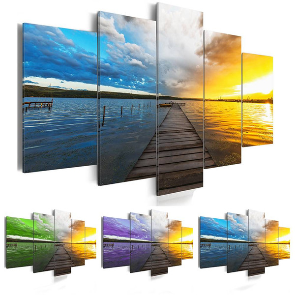 2019 Canvas Print Modern Fashion Wall Art the Color Clouds Sunset Sea Wooden Bridge for Home Decoration Choose Size:3(No Frame)