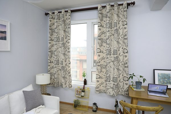 Finished Curtain Country Modern Map Pattern Cotton Linen Half Shading Curtain Living Room Balcony Window Bedroom Curtain