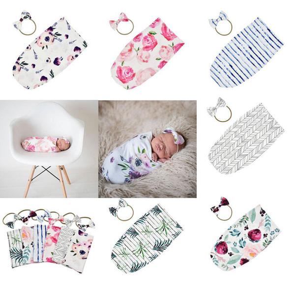 Newborn Infant Baby Swaddle Sleeping Bags Baby Muslin Blanket + Headband Baby Soft Cotton Cocoon Sleep Sack Headband 2pcs set 14710