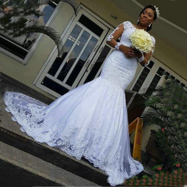 Lace branco sereia vestidos de casamento manga comprida 2019 Slim Fit vestidos de casamento Applique Illusion Sweep trem vestido de noiva