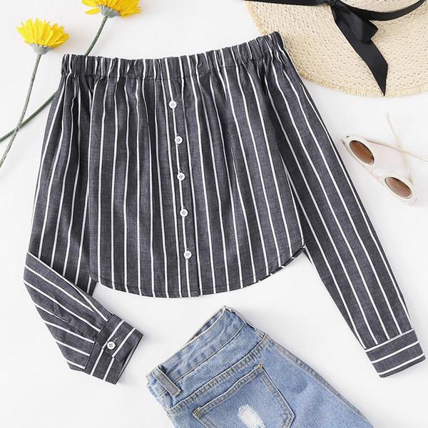Sexy Frauen-Hemd mit langen Ärmeln für die Büroarbeit Tops und Blusen weiblich Herbst Shirts Frauen Blusa Feminina-Boot-Ausschnitt Striped