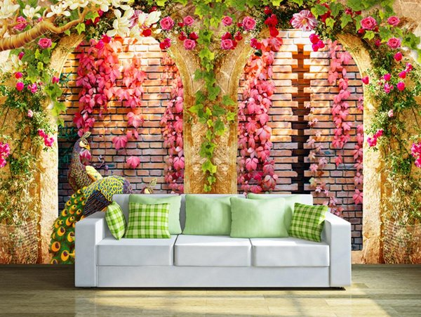 Custom 3D Photo Wallpaper Mural Hand Painted Flower vine arch peacock Wall Mural Living Room Home Decor Painting Wall Paper