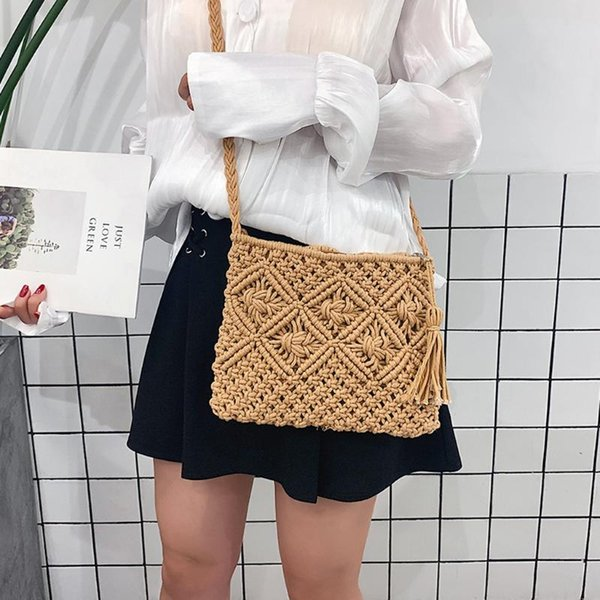 rattan woven shoulder bags handbag women straw purse knit summer beach bag woman messenger bag tassel khaki beige bfemale olsa