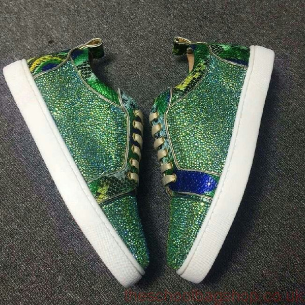 New Arrival Fashion Green Rhinestone With Green Patent Leather Low Top Lace Up Sneakers For Women Men Brand Red Bottom Casual Flats Shoes