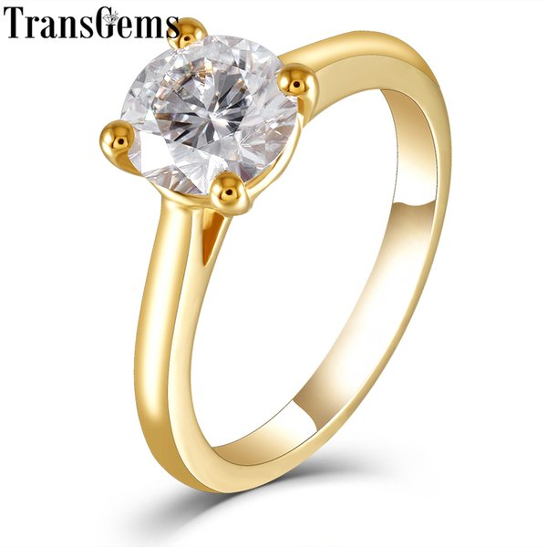 Transgems Solitaire Set 18 carati 750 Oro giallo 1ct 6.5mm F Color Moissanite Anello di fidanzamento per donne Nozze Y19061203