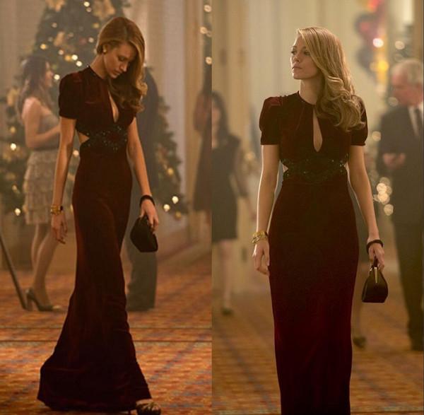 Burgundy Velvet 2019 Elegant Blake Lively Mermaid Prom Dresses Short Sleeve Keyhole Neck Long Formal Party Dresses Open Back Evening Gowns