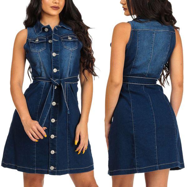 Summer Casual Denim Dress Women Cardigan Button Front Sleeveless Turn Down Collar Midi Dress A Line Dress