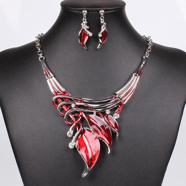 Joyería de moda Mujeres Rhinestone hojas de esmalte cuelgan los pendientes collar conjunto de joyas de boda conjunto de collar