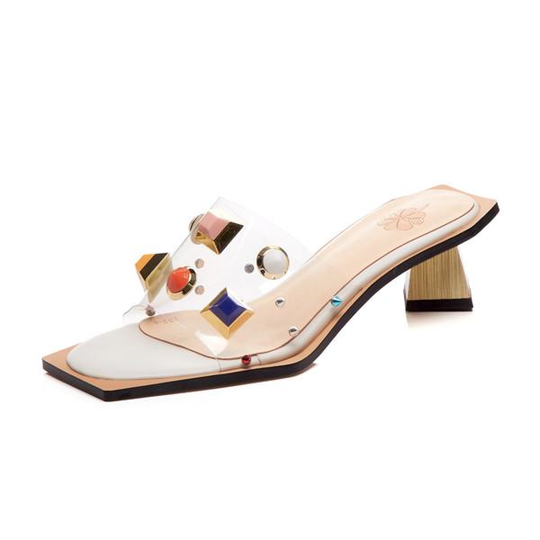 Women Sandals Rivet Transparent Square Toe Fashion High Heels Golden Bling Glitter Block Heel Sandals Hollow Out Outside Women Slipper