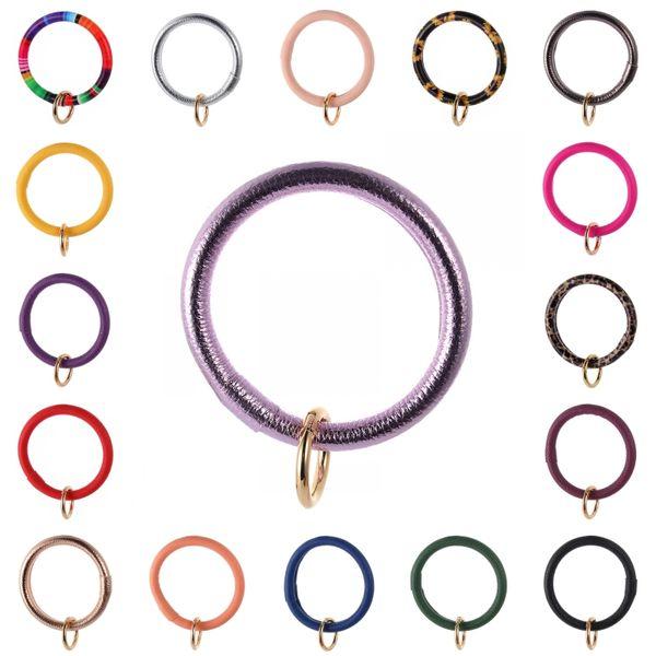Free DHL 201909 PU Leather Bracelets Keyrings 17 Styles Sunflower Leopard Bracelet Keychains O Key Ring Circle Wristlet Keychain Gift M319F