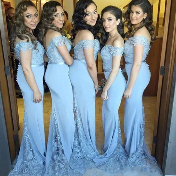 2019 New Light Sky Blue Mermaid Long Bridesmaid Dresses Cap Sleeve Lace Applique Low Back Wedding Bridesmaid Gowns For Girls