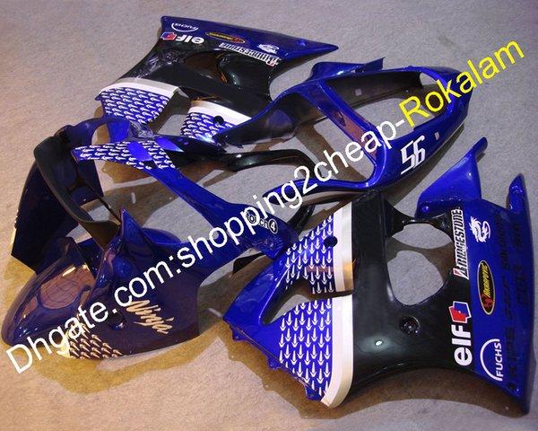 Para carenados de moto azul Kawasaki Ninja ZX 6 R 636 2000 2001 2002 ZX-6R 00 01 02 ZX 6R Azul Negro