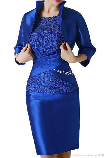 Royal Blue Lace Short Mother Formal Wear With Wrap Mother of groom Wedding Guest Dress Evening Mother Of The Bride Dress Suit Gowns