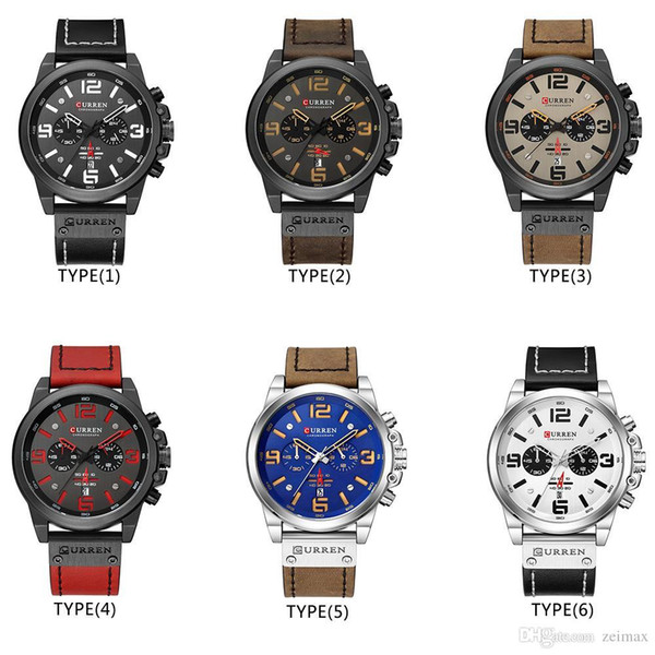 Men Military Sport Quartz Wrist Watch CURREN Casual Genuine Leather Waterproof Chronograph Watch Male Business Watch Clock298
