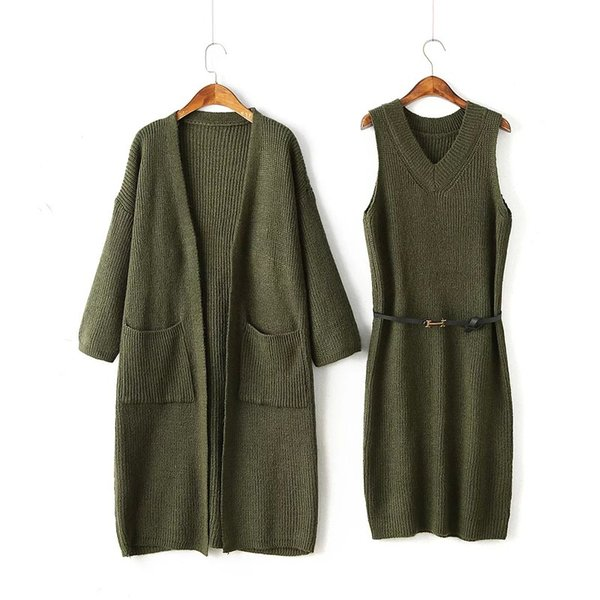2 Piece Set Women Long Sleeve Cardigan Knitted Dress Two Piece Sets Chothes Office Lady Army Green Twinset Romper Dress Suit