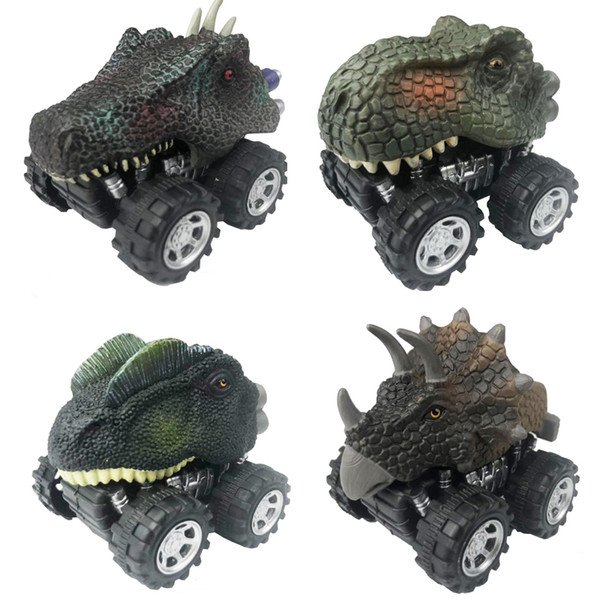 Diecasts & Vehicles 4pcs/set Dinosaur Car Toy Tyrannosaurus Rex Mini Pull back car Model Dinosaur Children's Christmas gift Boys Kids