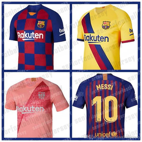 Barcellona Maglie 10 Messi Calcio 17 Griezmann 21 DE JONG SUAREZ 7 Coutinho Vidal Dembele A. INIESTA Umtiti 2019 2020 Mens Jersey Thailandia