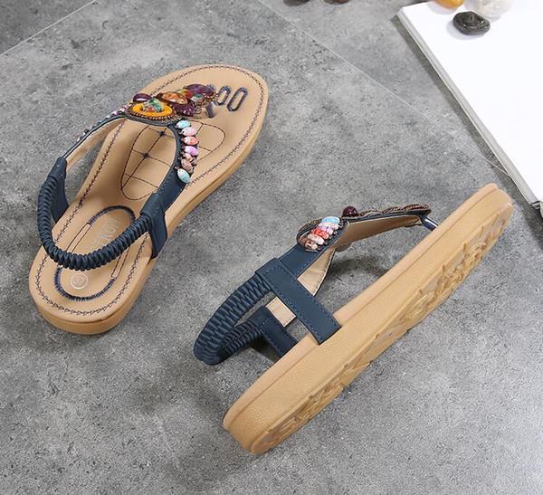 2019 moda feminina sapatos casuais sandálias de verão chinelo sapatos de praia preto / escuro da Marinha sapatos femininos trabalho / home plana calcanhar tendão de carne sola A025-7A
