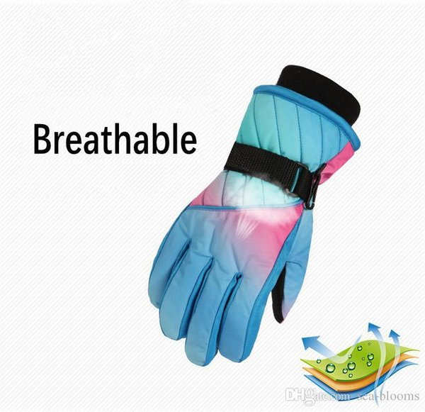 Winter Children'S Gloves 6 Colors Outdoor Thickening Hiking Riding Ski Warm Gloves Waterproof Non-Slip Gear For Kids Christmas Gift H913R