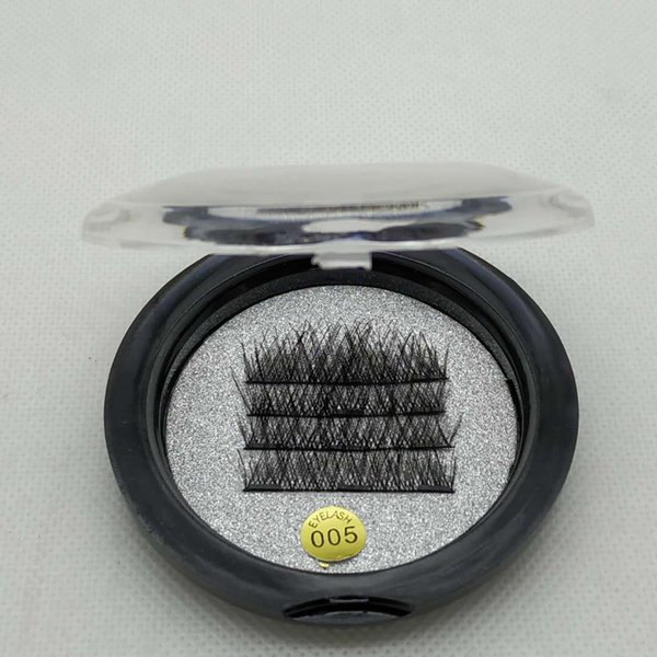 Glue free magnets, fake eyelashes, 3 magnets, a box of 4 human hair, natural comfort, easy to wear, multiple times, factory wholesale styles