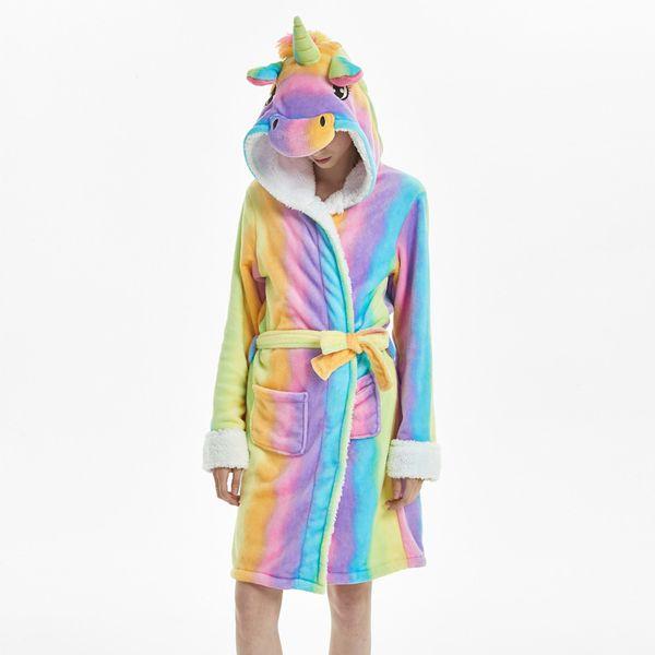 2018 Winter Women Hooded Bath Robe Cartoon Animal Unicorn Flannel Bathrobe Sleepwear Female Thick Warm Fleece Pajama Robe