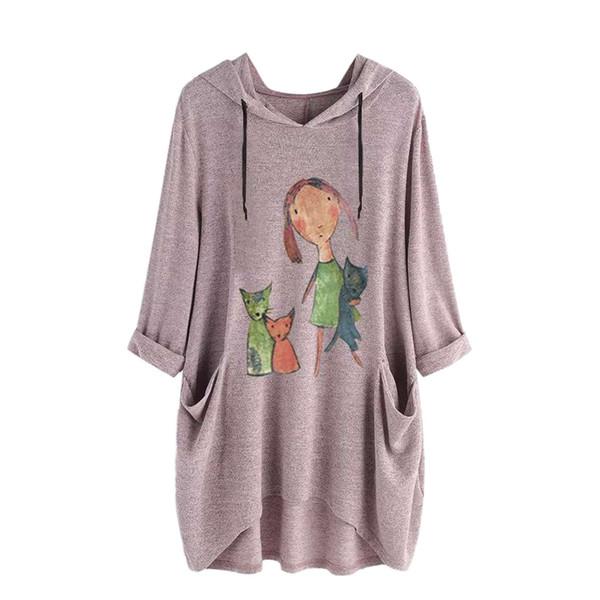 2.019 T shirt manica lunga con cappuccio T Shirt Donne Vintage Print Womens Bottoni T-shirt da donna Streetwear Camicie