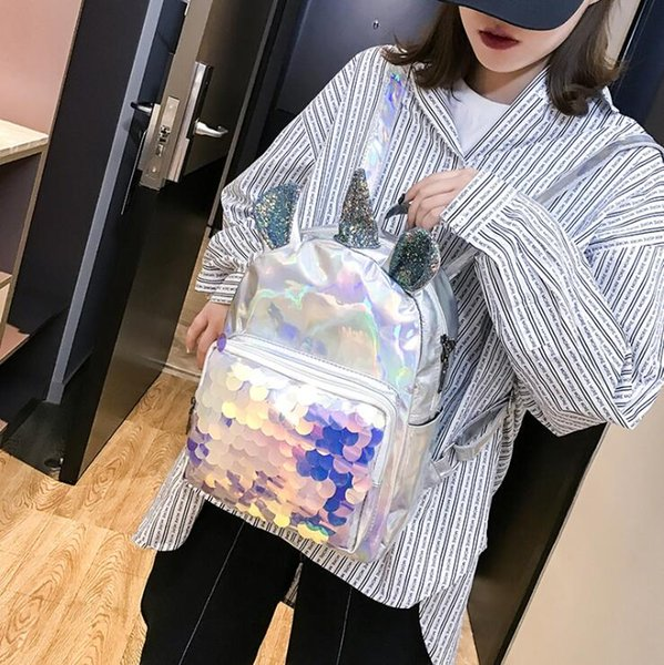 2019 Laser Leather Mini Backpack For Women Sequins Unicorn Girls Travel Back Bags Silver Fashion School Bagpack Free Shipping