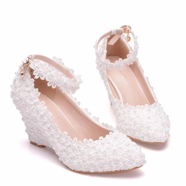 Bianco fiore donna scarpe da sposa perla pizzo Tacchi alti Dolce Sposa Abito scarpe perline Zeppe tacchi pompe