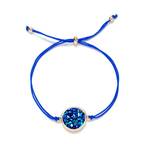 Sparkling Bracelet Natural Stone Jewelry Crystal Quartz Druzy Charm Bracelet for Women ROPE chain Cuff Bangles gift