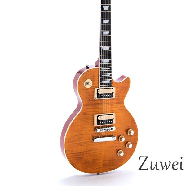 6 Strings En Kaliteli Elektrik Gitar 1 adet Boyun 1 adet Maun Vücut Figürlü Akçaağaç Kaplama T-O-M Köprü