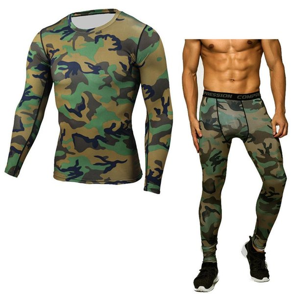 Compression Workout Sets Men 2pcs Camouflage Fitted Squat Mens Base Layer Motocross Work Pant Sportswear Underwear Army