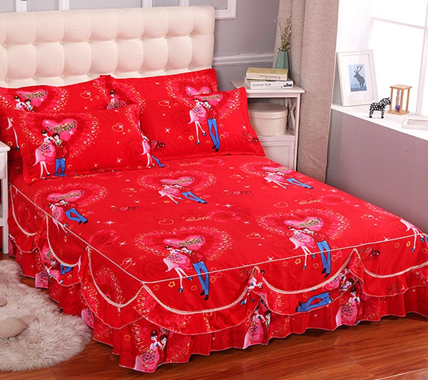 New Fashion Bedpread Sanding Soft No Pilling Bed Skirt Double Layer Ruffle Edge Fitted Bed Sheet King Queen Size Home