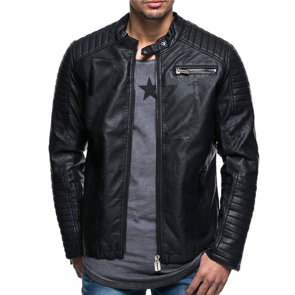 2018 Men's Stand Collar Zip Up Faux Leather Moto Jackets for Man Long Sleeves Coats Slim fit Male Trench 271731