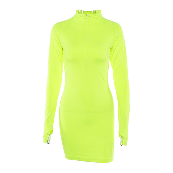 New Autumn Fashion Women Casual Long Sleeve Half Open Zip Collar Straight Solid Color Dress Tight Sexy Mini Dress designer clothes